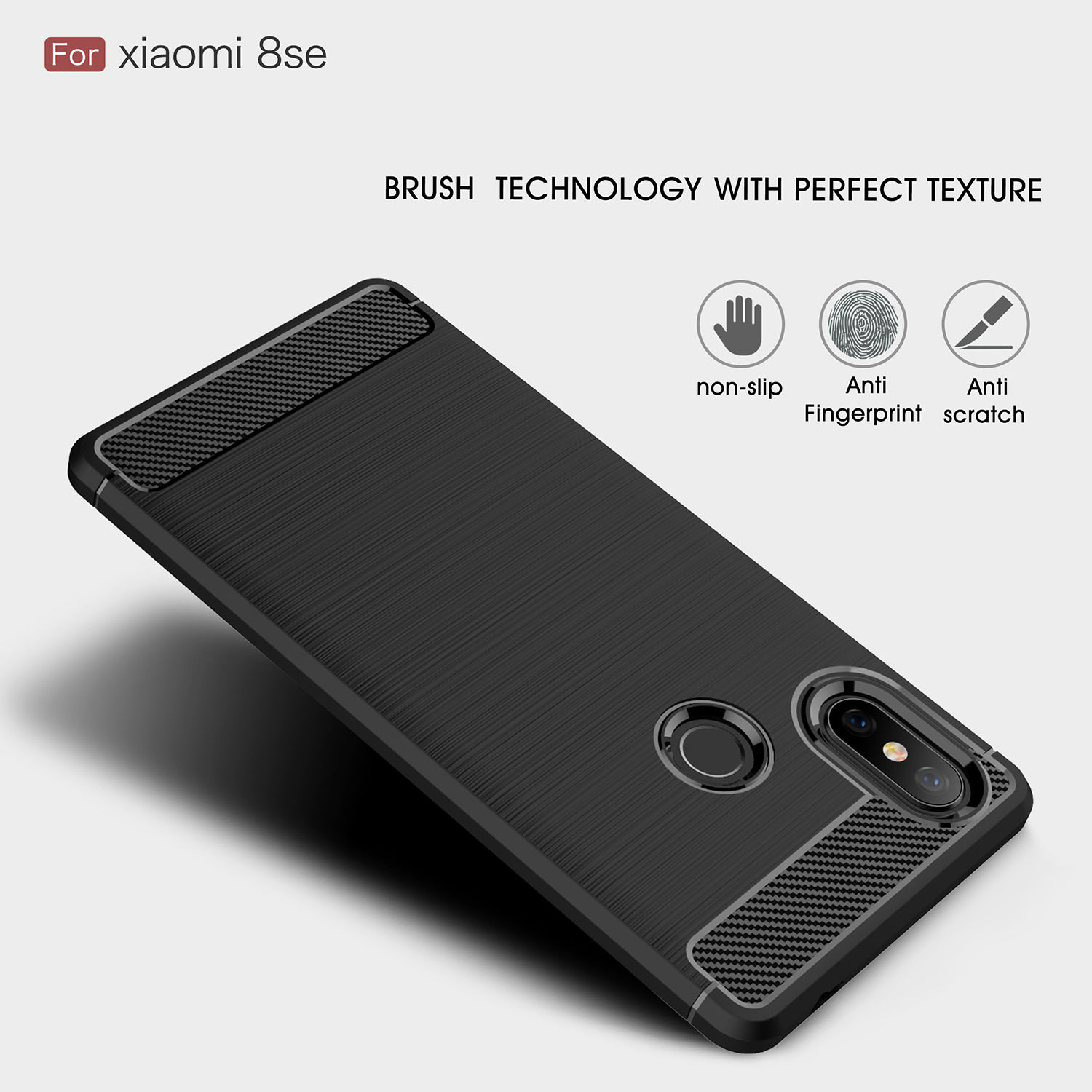 Bakeey Shockproof Carbon Fiber Drawing Soft TPU Back Cover Protective Case For Xiaomi Mi 8 SE