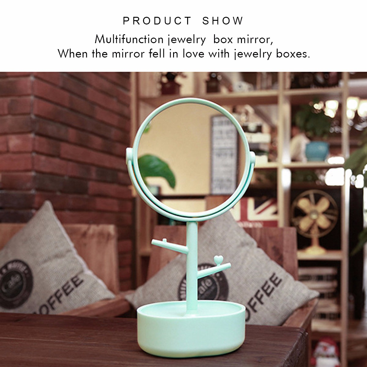 360° Rotatable HD Makeup Mirror 2 Layers Storge 3X Magnification Jewelry Hanging Cosmetic Mirrors