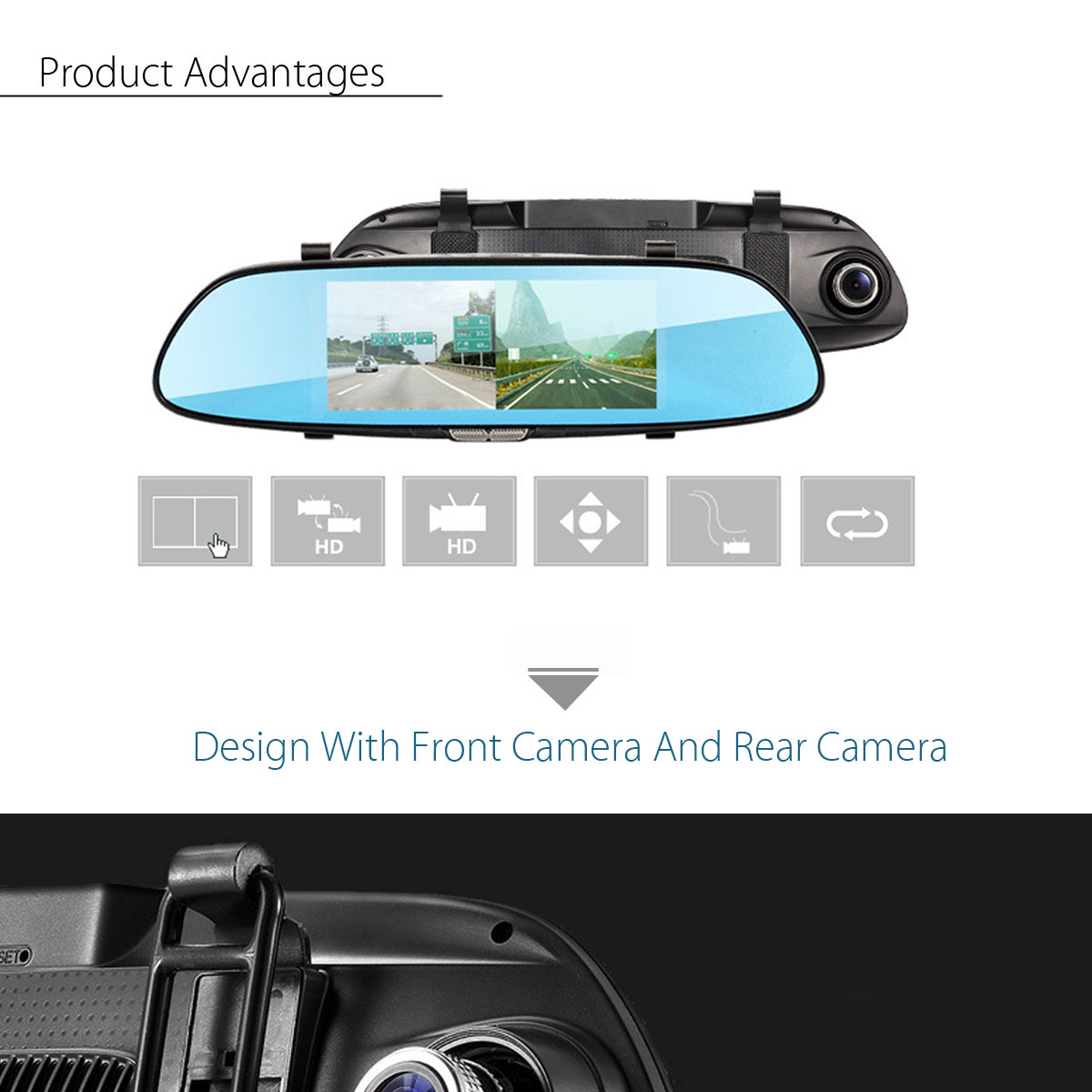 7 Inch 1080P Dual Lens Car Dash Cam DVR Rear View Mirror Video Camera Recorder