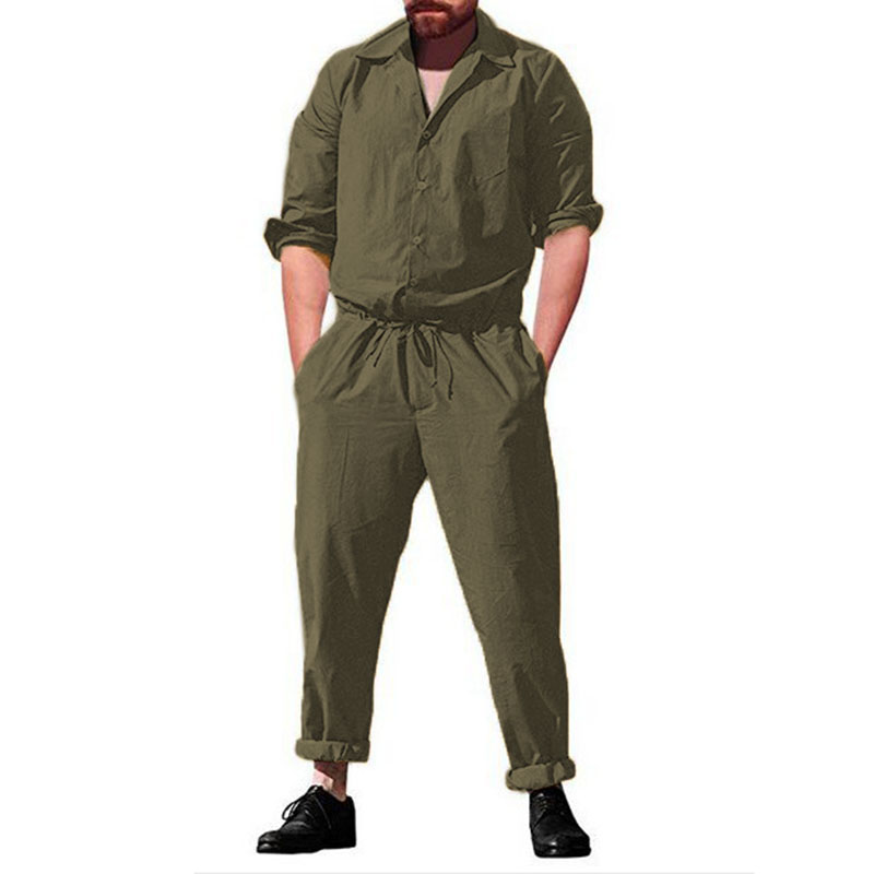 Mens Casual Conjoined Pajamas Jumpsuit Loungewear