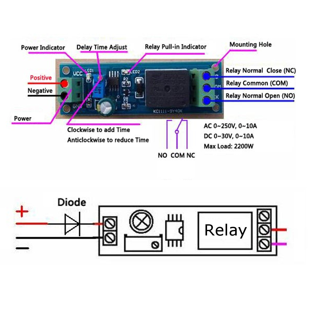 Delay Timer Switch Adjustable 0 10sec With Ne555 Electrical Input Wiring Diagram Shipping Methods
