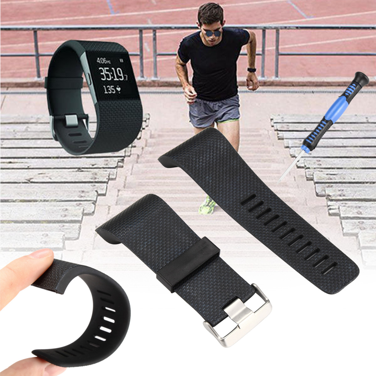 Replacement Watch Band Strap Kit for Fitbit Surge Activity Tracker Black Lager For Fitbit Surge