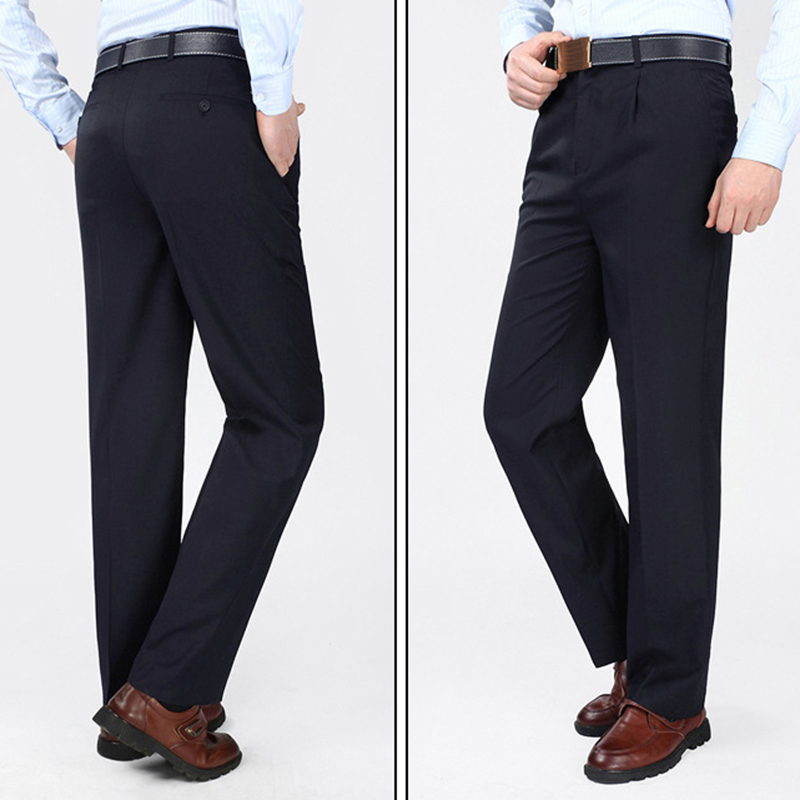 Mens Casual High Rise Polyester Comfy Business Dress Pants