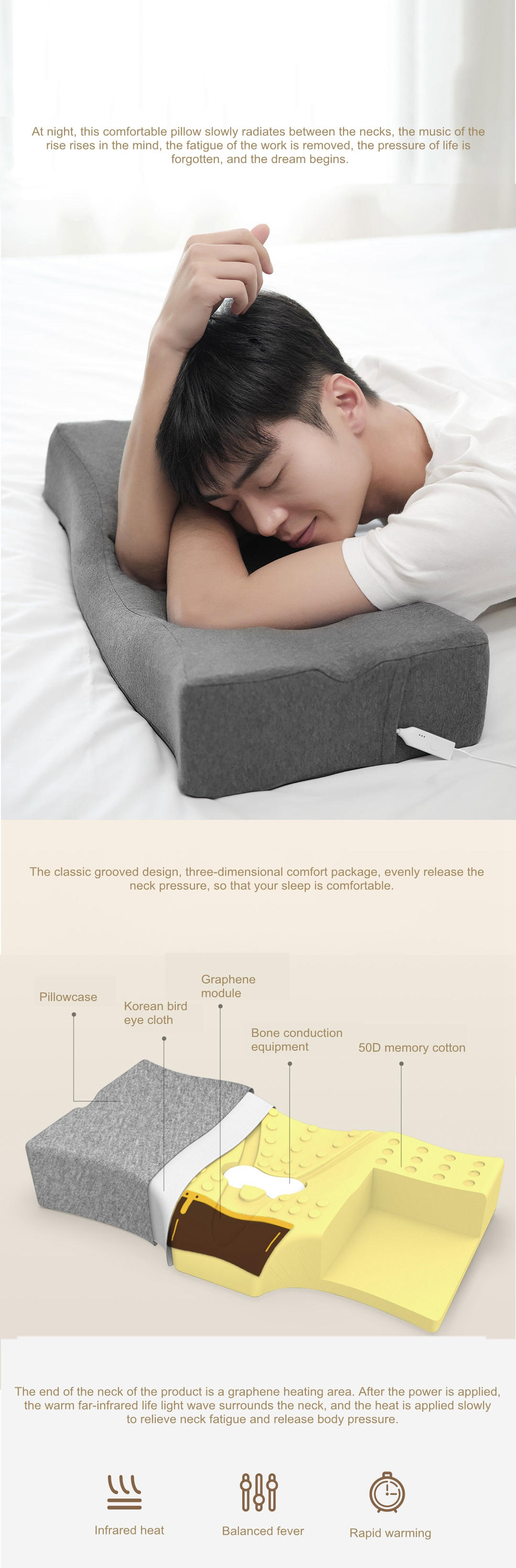 XIAOMI PMA Graphene Neck Smart Sleep Aid Pillow