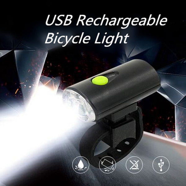 USB Rechargeable LED Bike Head Front White Light Lamp Bicycle Cycling Light 3 Modes