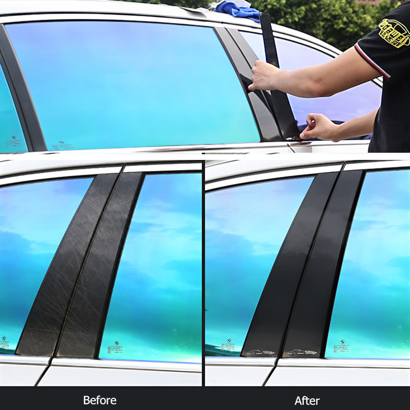 6Pcs Black Pillar Posts Set Cover Door Coating for BMW 5-Series PC Trim Window