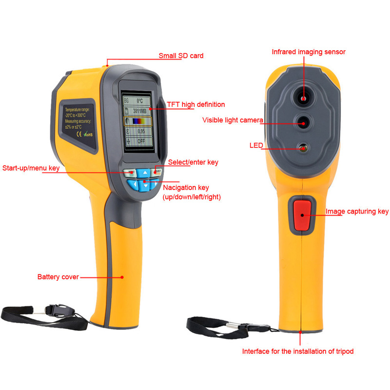 HT02 Handheld Thermograph Camera Infrared Thermal Camera Digital Infrared Imager Temperature Tester with 2.4inch Color LCD Display