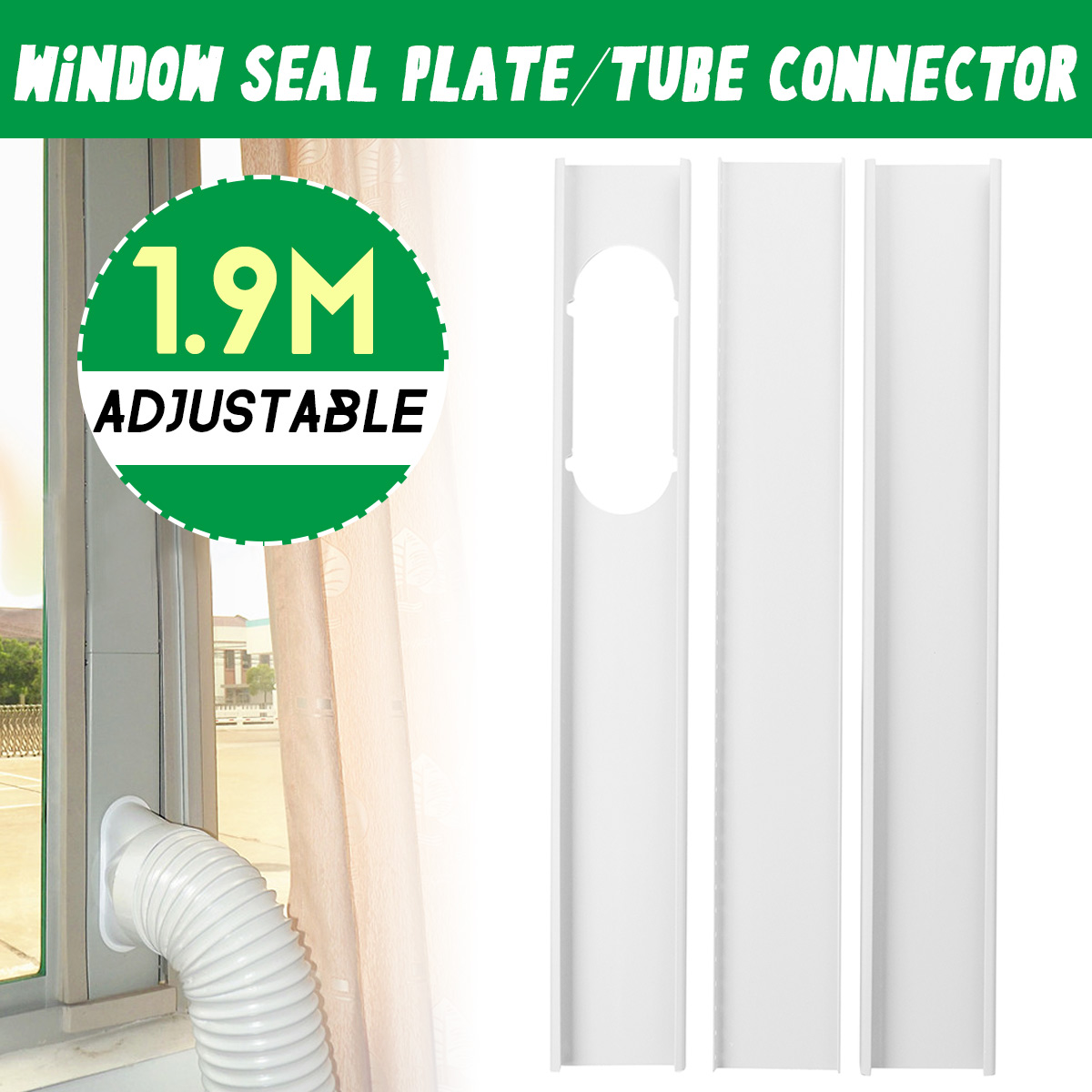 3Pcs 1.9M Adjust Air Conditioner Window Vent Plate Air Conditioner Exhaust Hose Tube Connector