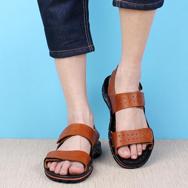 Men Comfy Breathable Genuine Leather Hook Loop Sandals