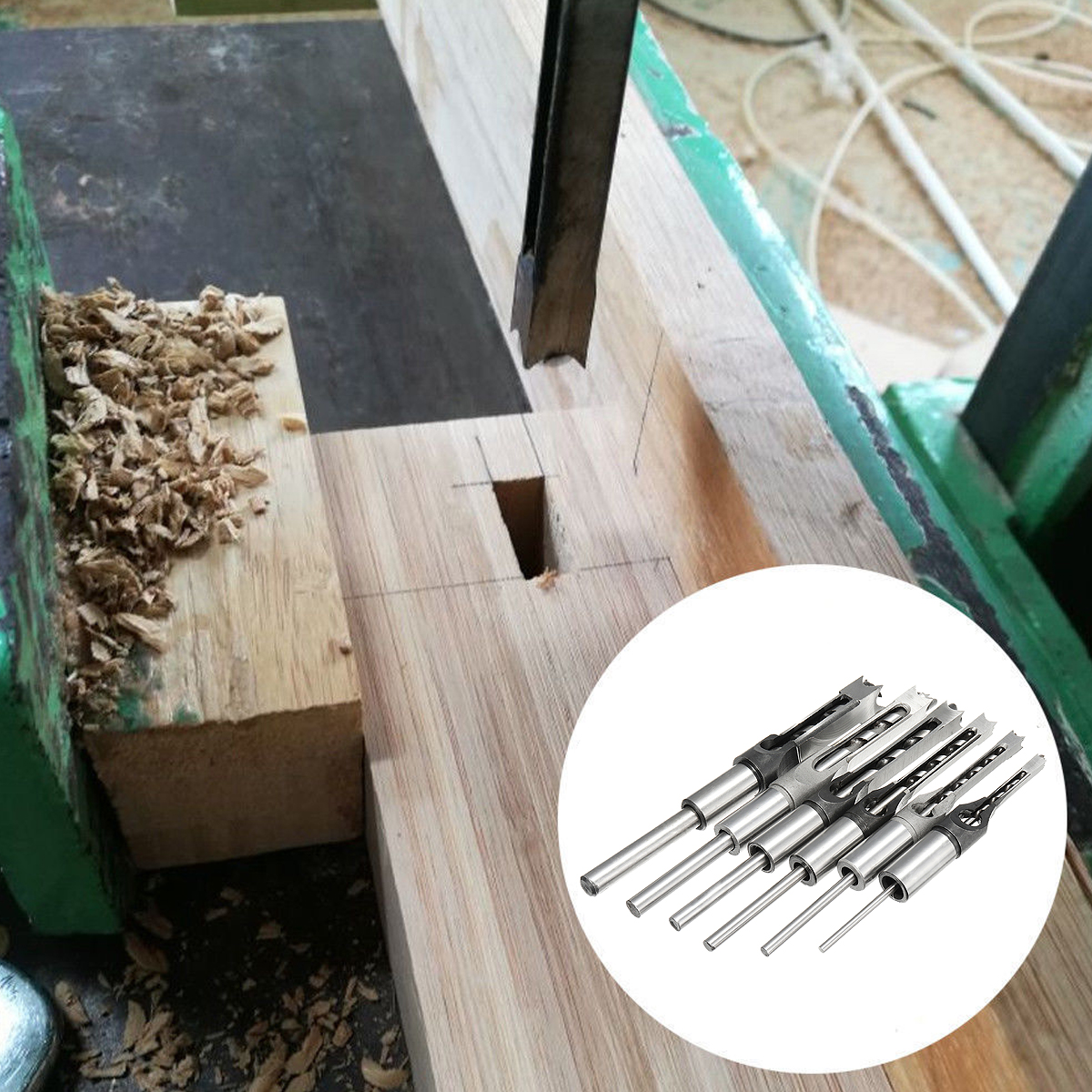 6pcs 6-16mm Woodworking Square Hole Drill Bit Set Mortising Chisel Auger Drill 6/8/9.5/12.7/14/16mm
