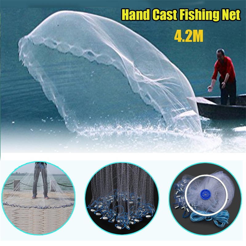 4.2m Hand Cast Fishing Net Netting Twine Steel Sinker Network Bait Fishing Net