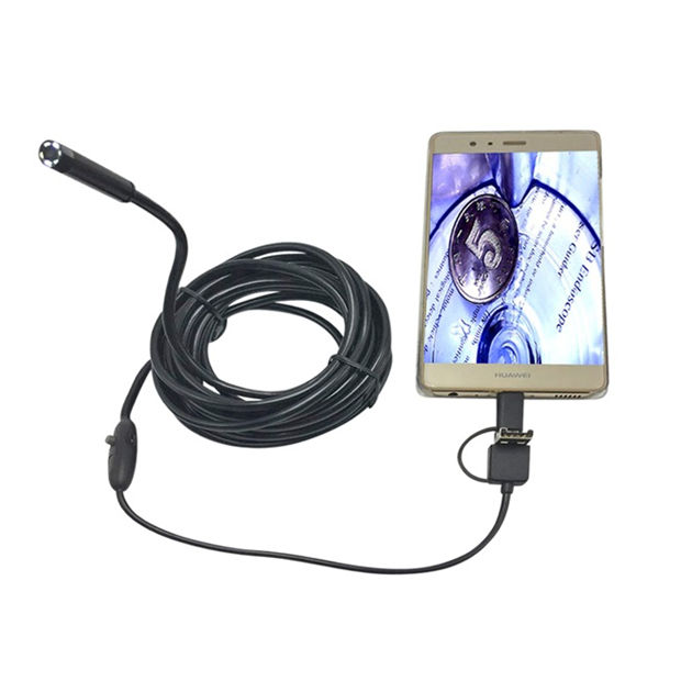 3-in-1 7mm 6LED Rigid Waterproof Endoscope USB Type C Borescope Inspection Camera 1/2/3.5/5M/10M