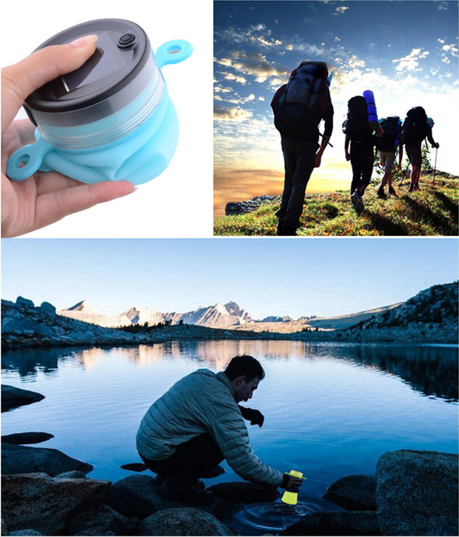 550ml Collapsible Silicone Waterproof Sport Water Bottle With Solar Energy Charge LED Camping Latern
