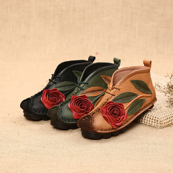 SOCOFY Genuine leather Soft Sole Flower Ankle Short Boots