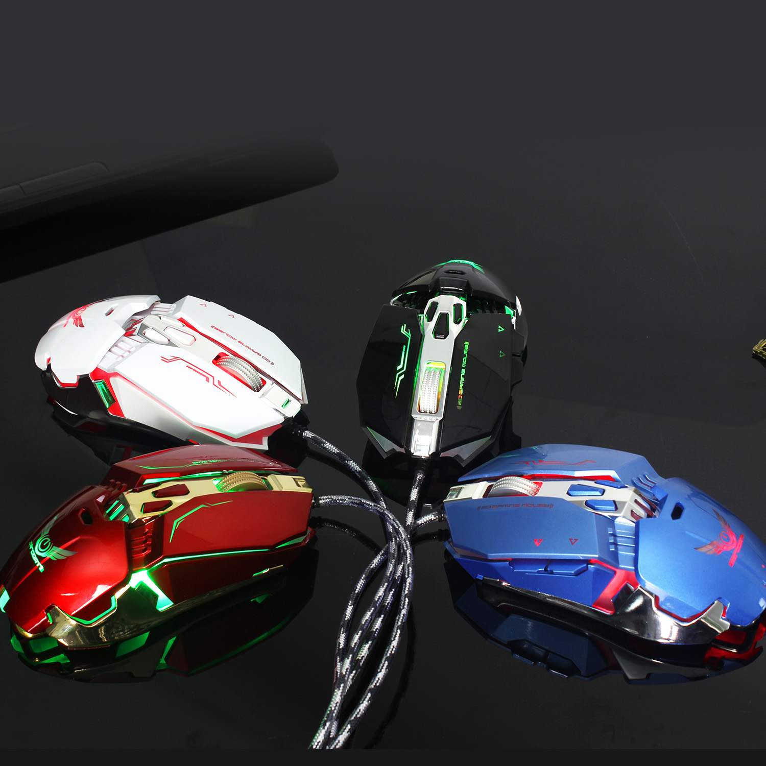 Zerodate X800 3200DPI 8 Buttons Mechanical Macros Define LED Game Mouse Mice for PC