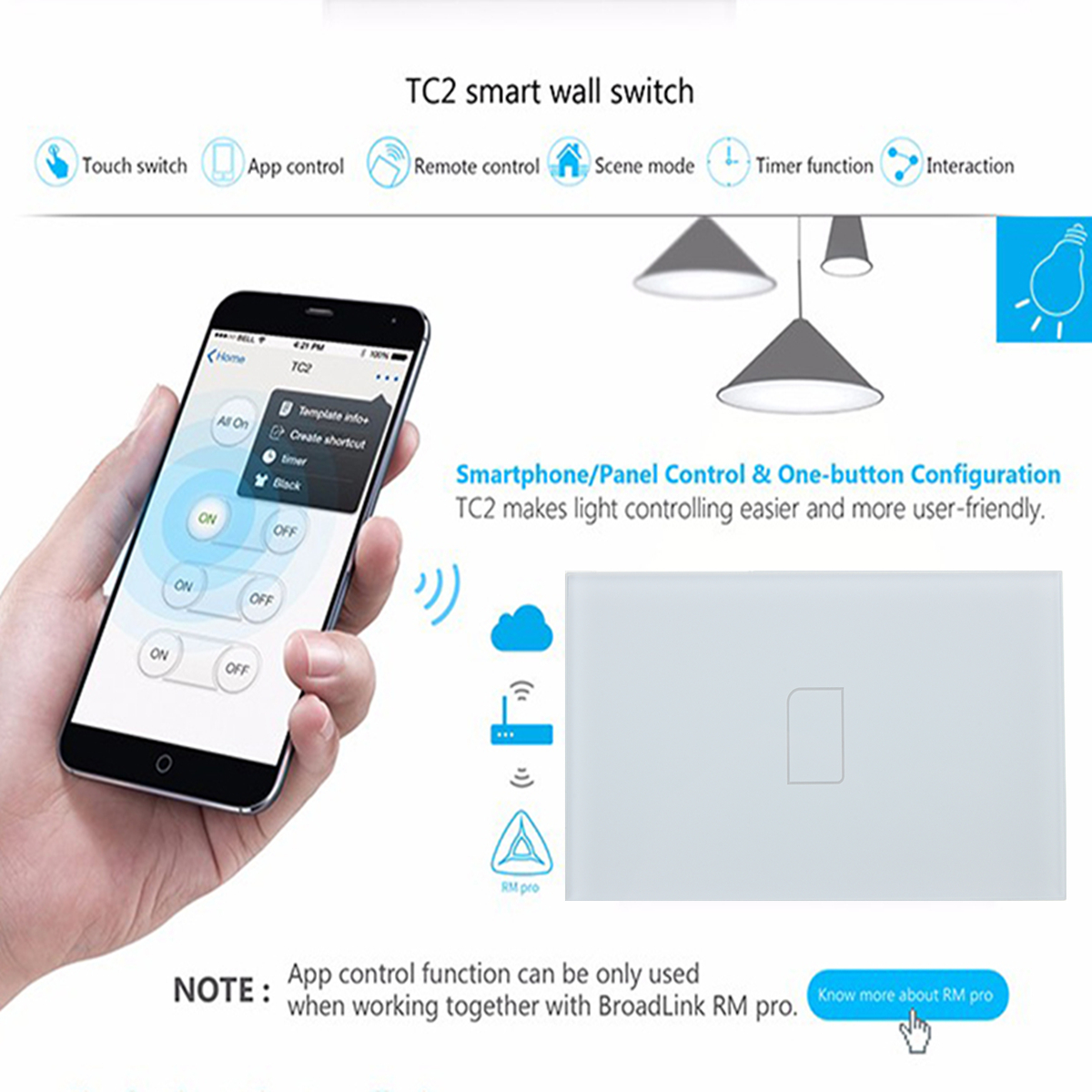 TC2 WIFI Wireless Wall Light Touch Switch Glass Panel LED Light Controller
