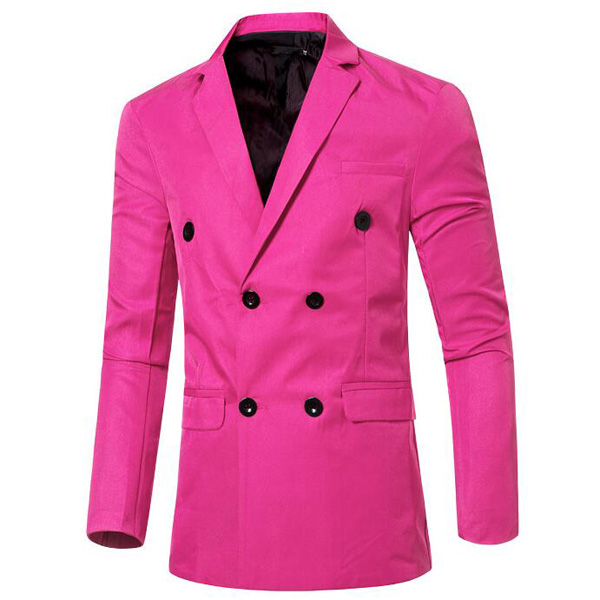 Mens Fashion Casual Double-breasted Solid Color Suit Coat 12 Candy Colors