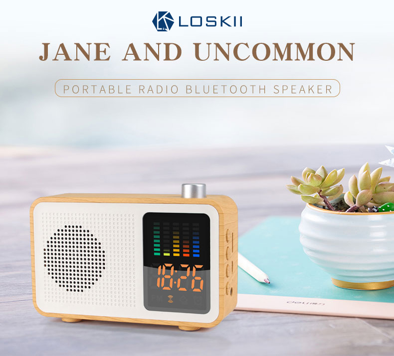MSK-102 Creative 3 in 1 Rechargeable bluetooth Speaker Radio Alarm Clock Support AUX TF Card