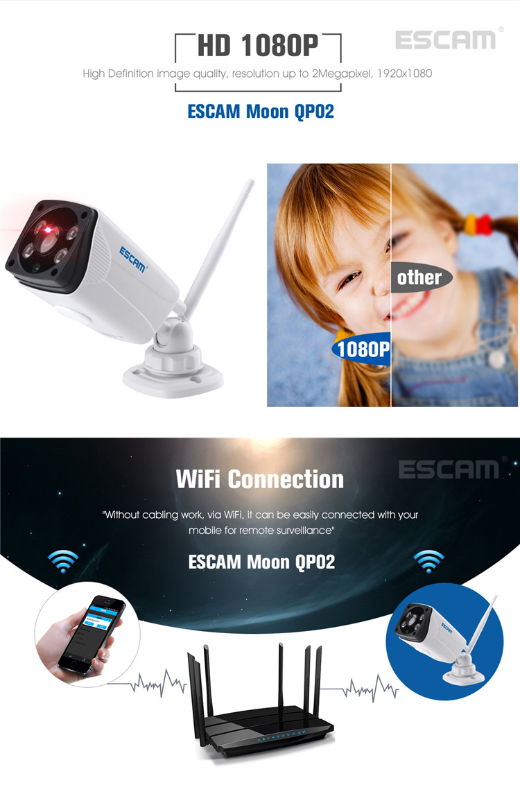 Escam Moon QP02 2MP 1080P WIFI Alarm Panoramic Camera IP66 Outdoor Bullet IR-Cut Security IP Camera