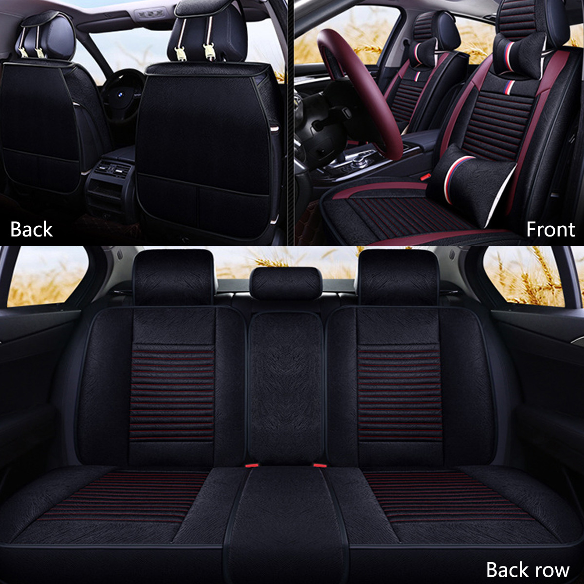 12Pcs Luxury 5-Seat Car Seat Cover Front Rear with Pillow Waist Cushion Black Red