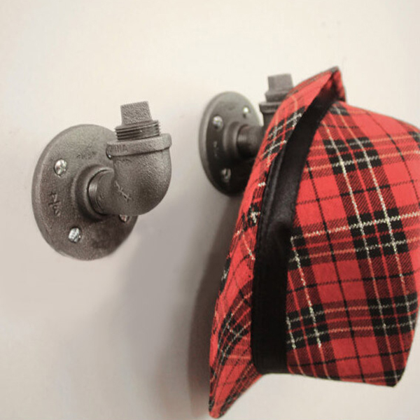 Industrial Iron Pipe Hook Wall Mount Retro Vintage Steampunk Clothes Coat Hat Hanger