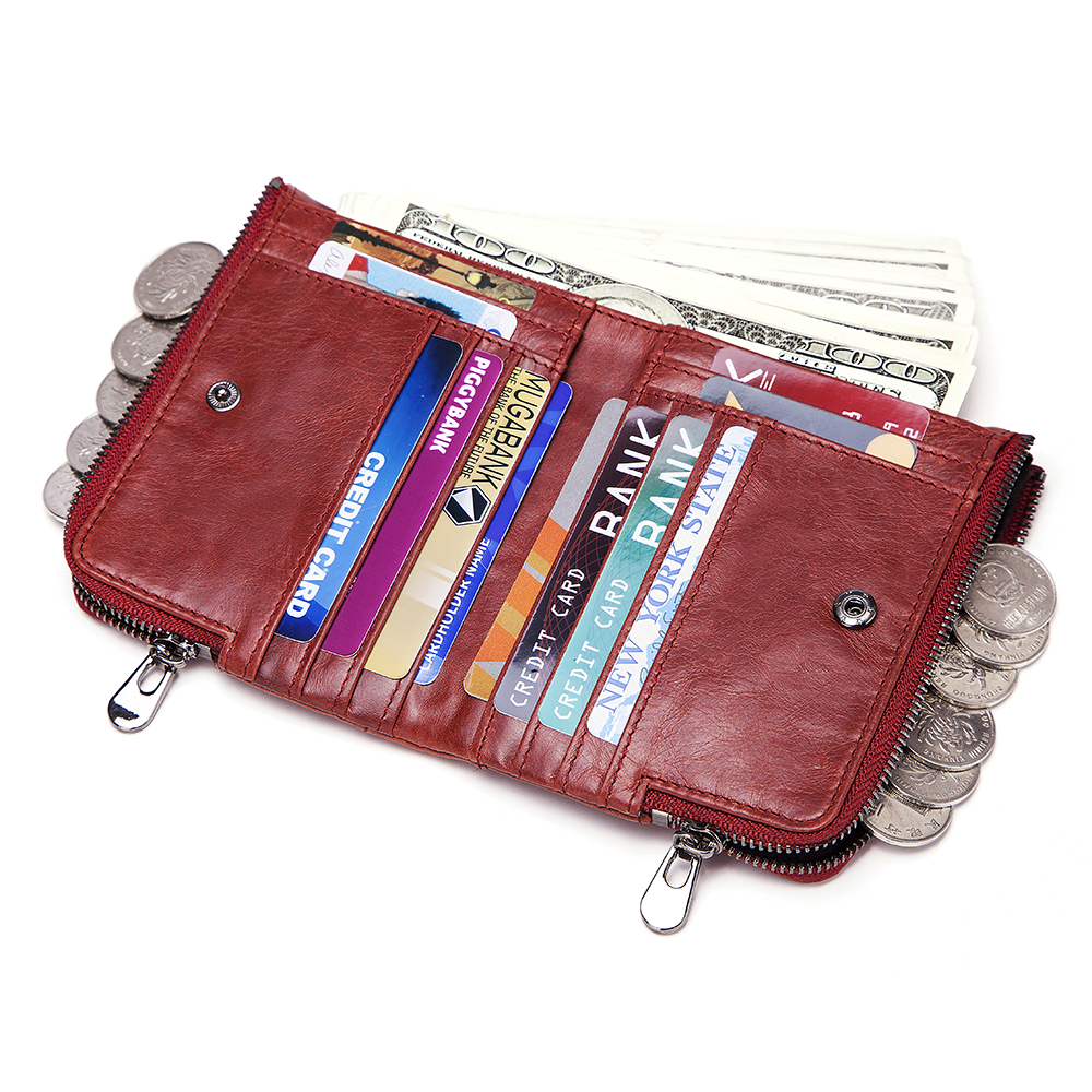 RFID Women Genuine Leather 12 Card Slot Bifold Short Wallet