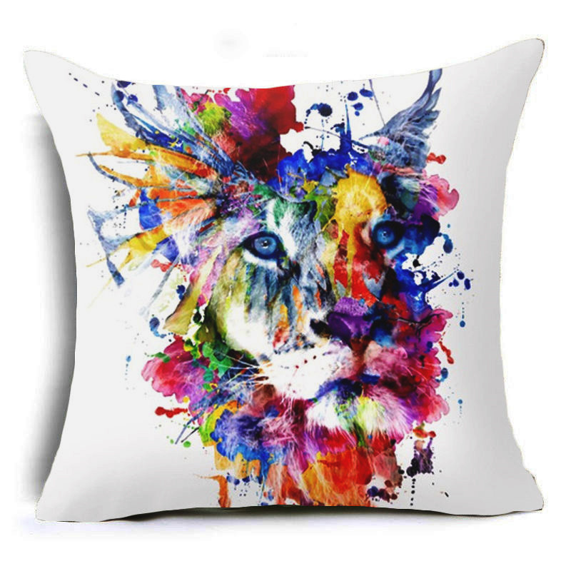 Honana 45x45cm Home Decoration Colorful Oil Painting Animals and Skull 6 Optional Patterns Cotton Linen Pillowcases Sofa Cushion Cover