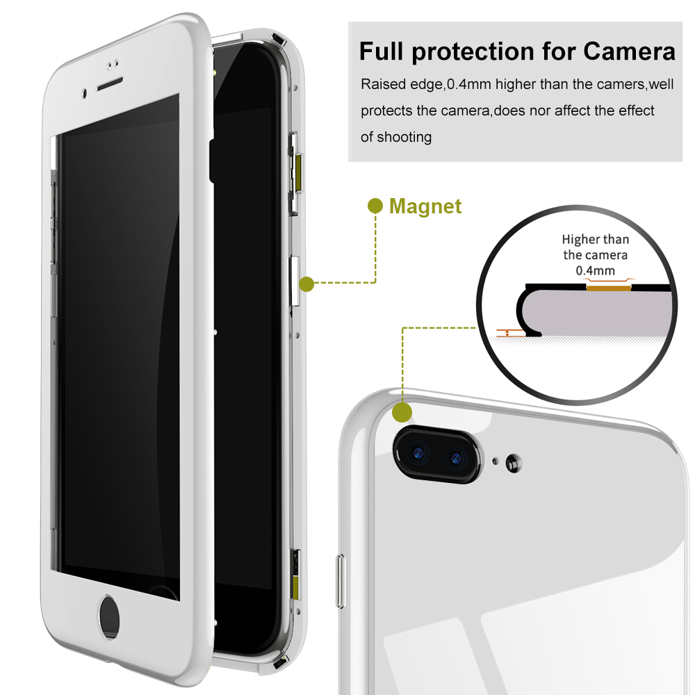 Bakeey Plating Magnetic Adsorption Full Body Protective Case with Tempered Glass Screen Protector For iPhone 7/7 Plus/8/8 Plus