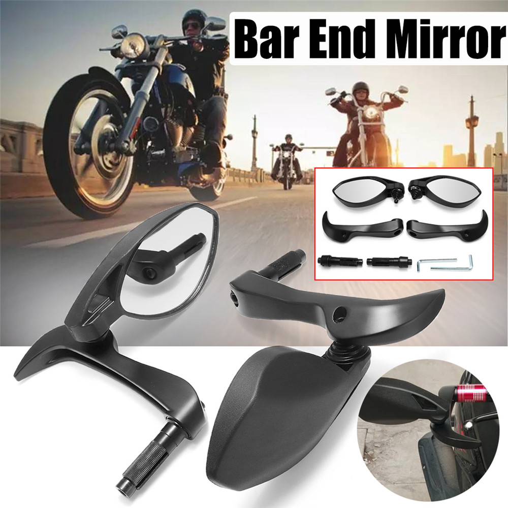 7/8'' 22mm Motorcycle Motorbike Handle Bar End Rearview Mirrors + Lever Guard