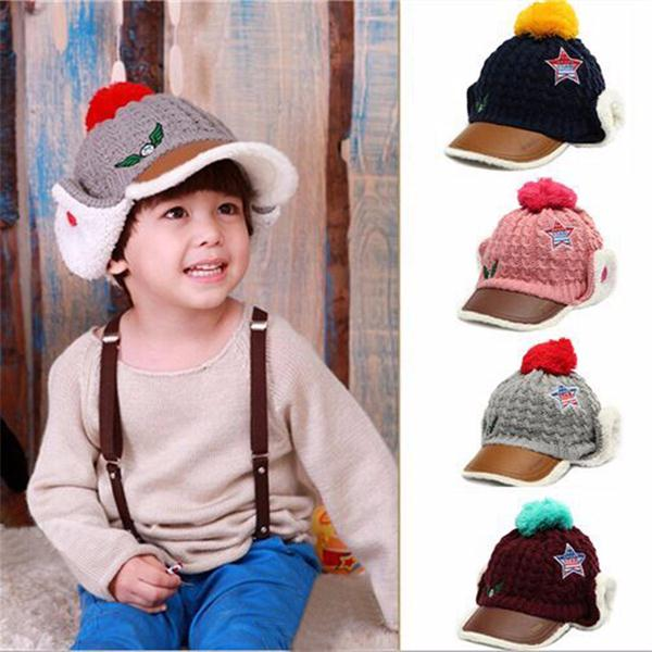 Winter Peaked Cap Baby Girl Boy Children Decorated Snow Loosely Braided Warmers Soft Earflap Hat Hooded