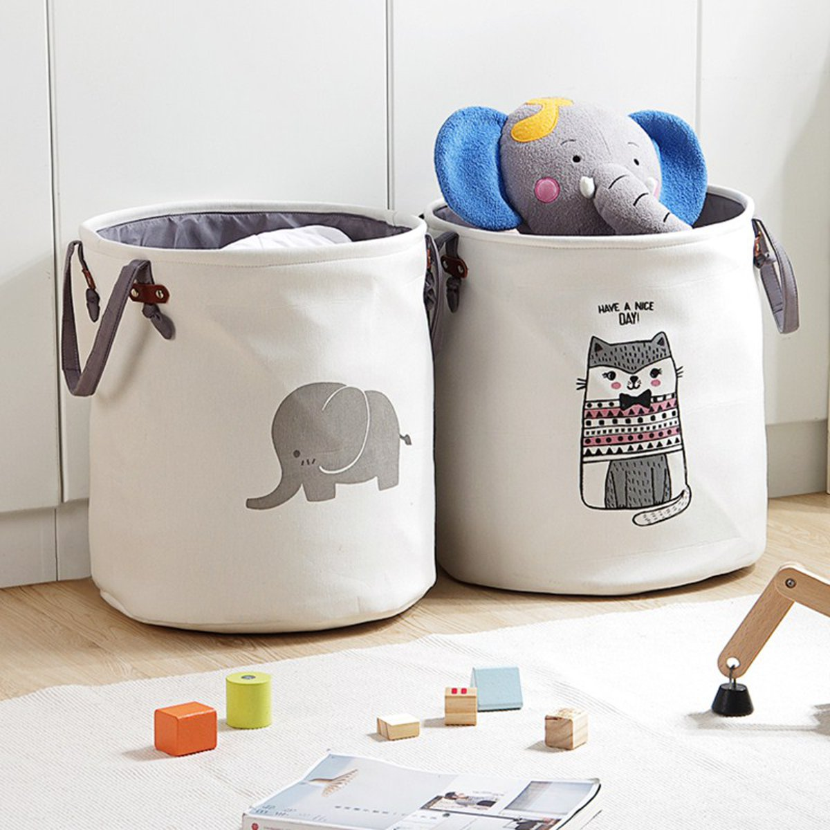 Pattern Laundry Hamper Cotton Rope Woven Handbag Canvas Laundry Basket Storage Bag Baby Toys Bin