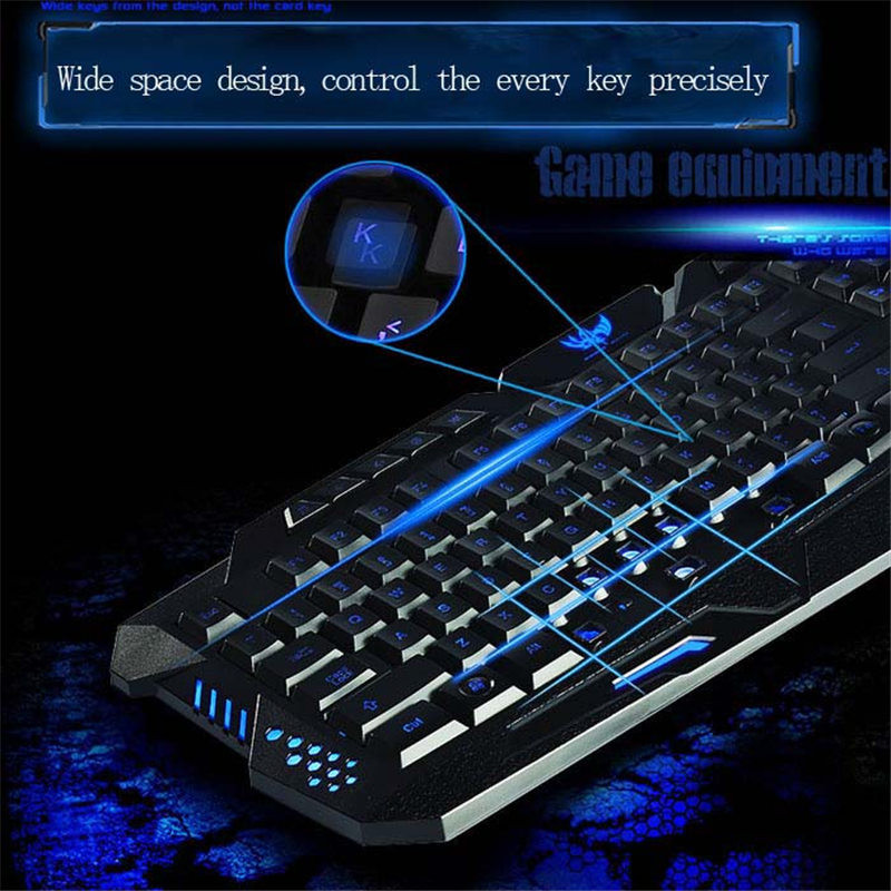 A877 English Version Wired 3 Color Adjustable Backlit Gaming Keyboard