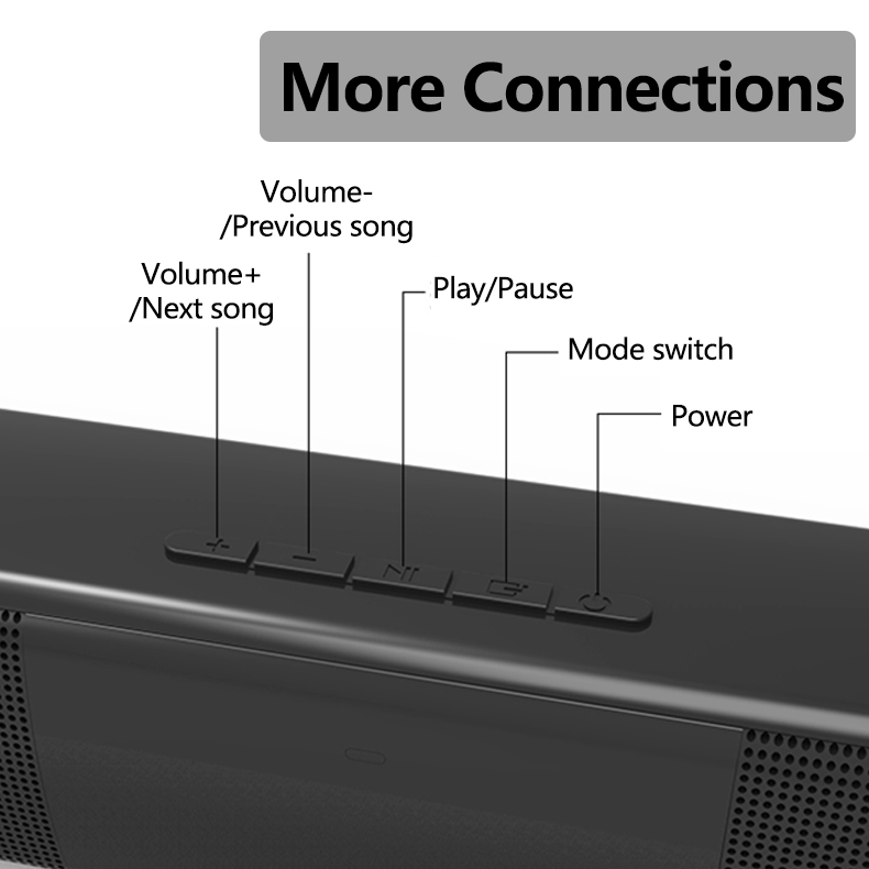 20W Wireless bluetooth Speaker Subwoofer Bass Soundbar Headset With 2000mAh Support TF Card AUX Remote Control