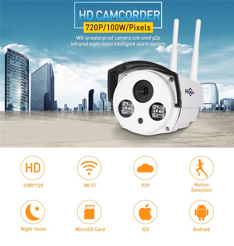Hiseeu 720P 1.0MP WiFi IP P2P Camera Bullet Outdoor SD Card Storage CCTV Surveillance IR Camera