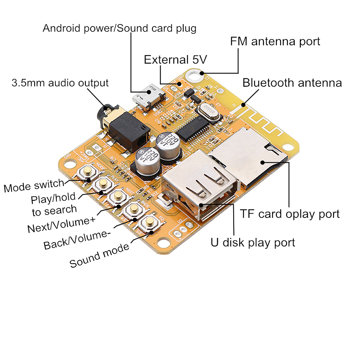 DIY Wireless Audio Receiver Amplifier Board bluetooth 4.2 Stereo Sound Module