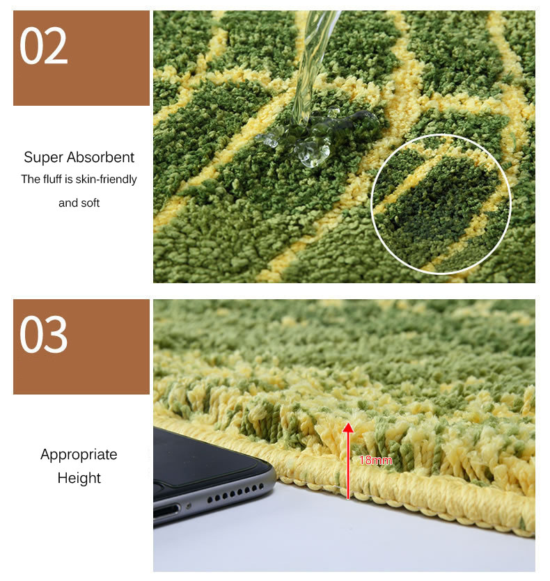 Honana WX-229 Green Leaves Design Mat TPE Bath Mat Doormat Anti-slip Carpet for Living Room Kitchen Bathroom Water-absorbing Rugs