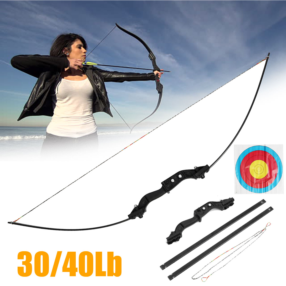 30/40lbs Archery Hunting Metal Bow Right Handed Shooting Takedown Adult Sport With Archery Target