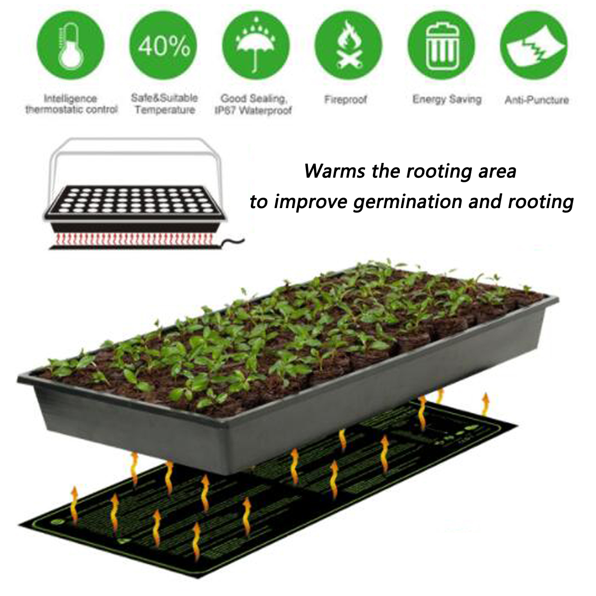 Garden 20 x10 Inch Seedling Heating Pads Germination Propagation Clone Reptile Starter Warm Mat