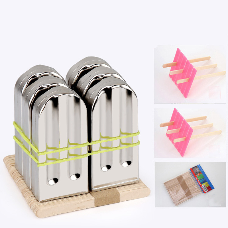 KCASA KC-ICE18 6 Pieces Set Stainless Steel Popsicle Mold Food Grade Ice Lolly Maker Summer Gifts