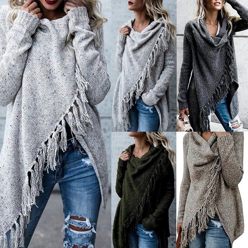 Women Winter Warm Tassel Sweater Coats