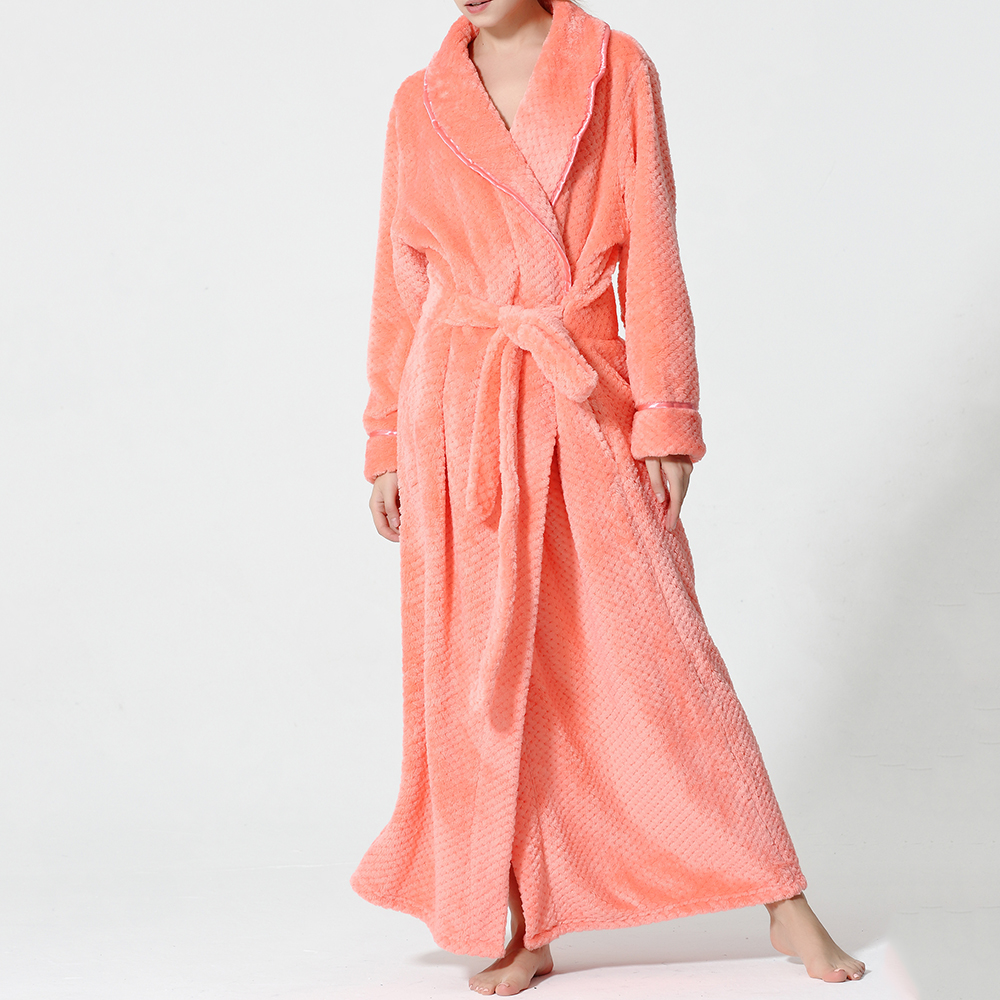 Plus Size Long Sleeve Bathrobe Flannel Night Gown