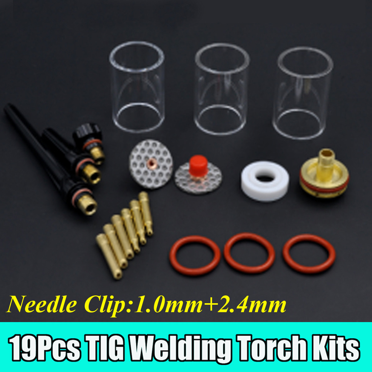 19PCS TIG Welding Torch Stubby Gas Lens Glass Cup Kit For WP17/18/26