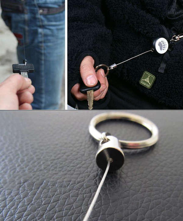 Telescopic Metal Keychain Keyring Anti Theft Buckle Key Chain Ring Outdooors Motorcycle Auto