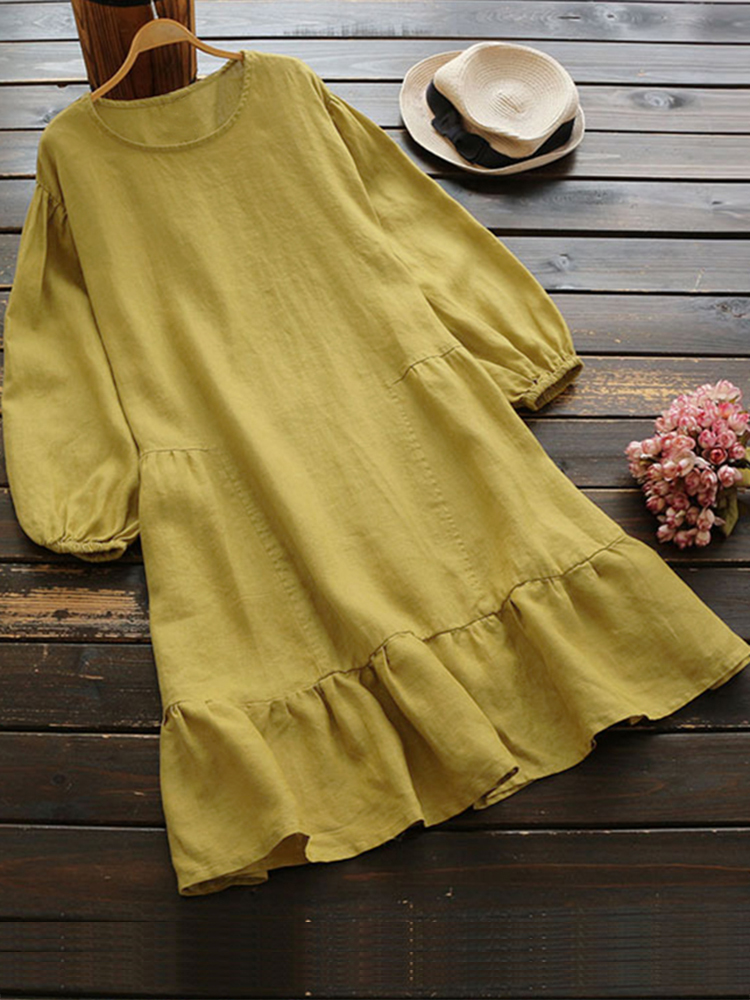 Casual Women Cotton Solid Color Side Pockets Dress