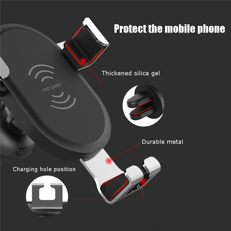 Qi Wireless 10W Fast Charging Gravity Auto Lock Car Holder Air Vent Stand for iPhone X Mobile Phone