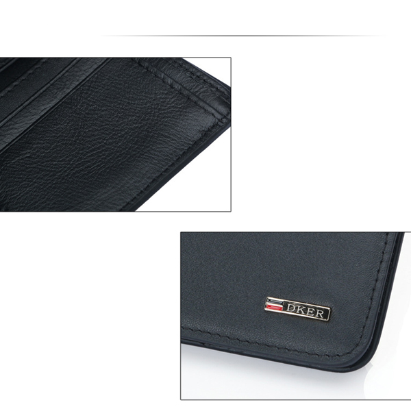 Men Genuine Leather RFID Blocking Leather Wallet Trend Card Holder Purse