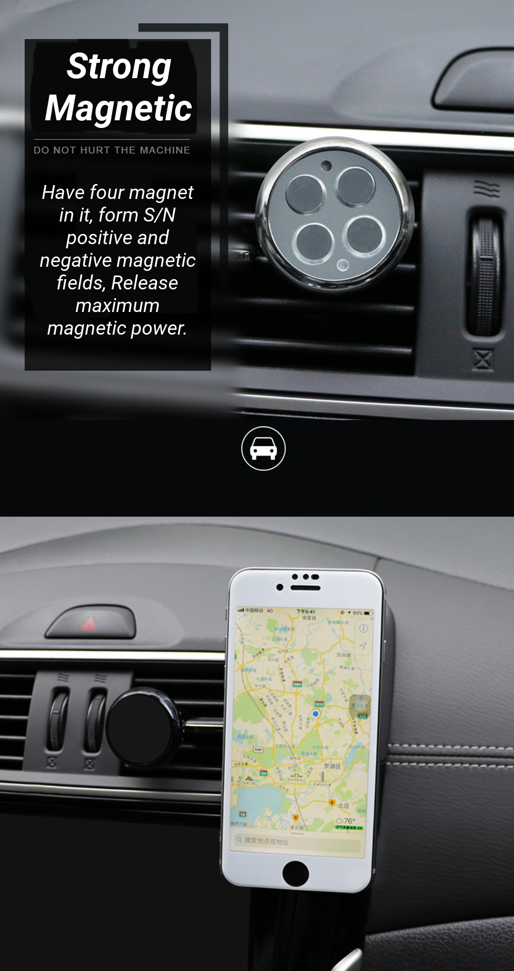 Magnetic Car Air Vent Aromatherapy Phone Holder Air Purifier Freshener Stand Mounts for Iphone X