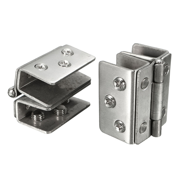 2Pcs Glass to Glass Door Double Clamp Shower Hinges Gri