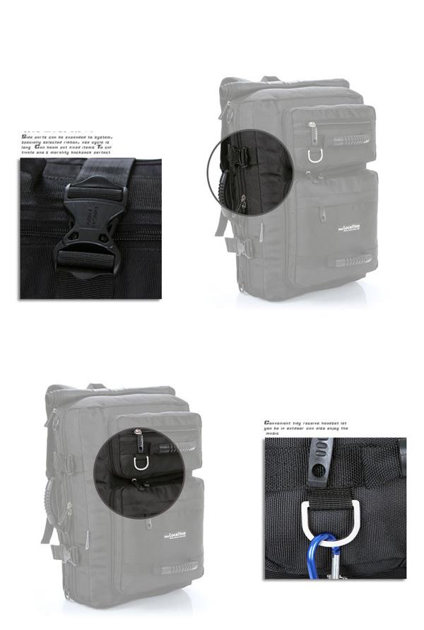 Men Nylon Black 40L Large Capacity Travel Bag Multifunctional Backpack Handbag Shoulder Bag