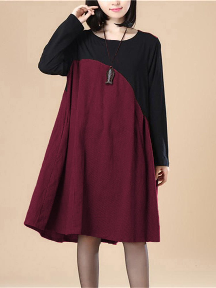 Vintage Women O-Neck Long Sleeve Patchwork Knee-Length Casual Dress